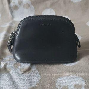COACH Black Leather Coin Purse